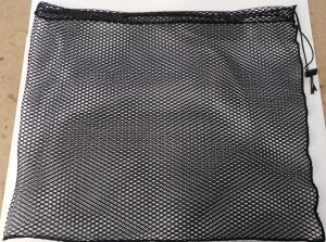 Black poly netting bag with a sleeve