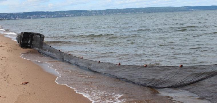 black fyke net along beach