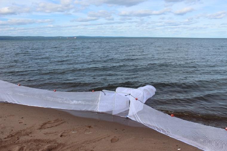 Small fyke net on beach